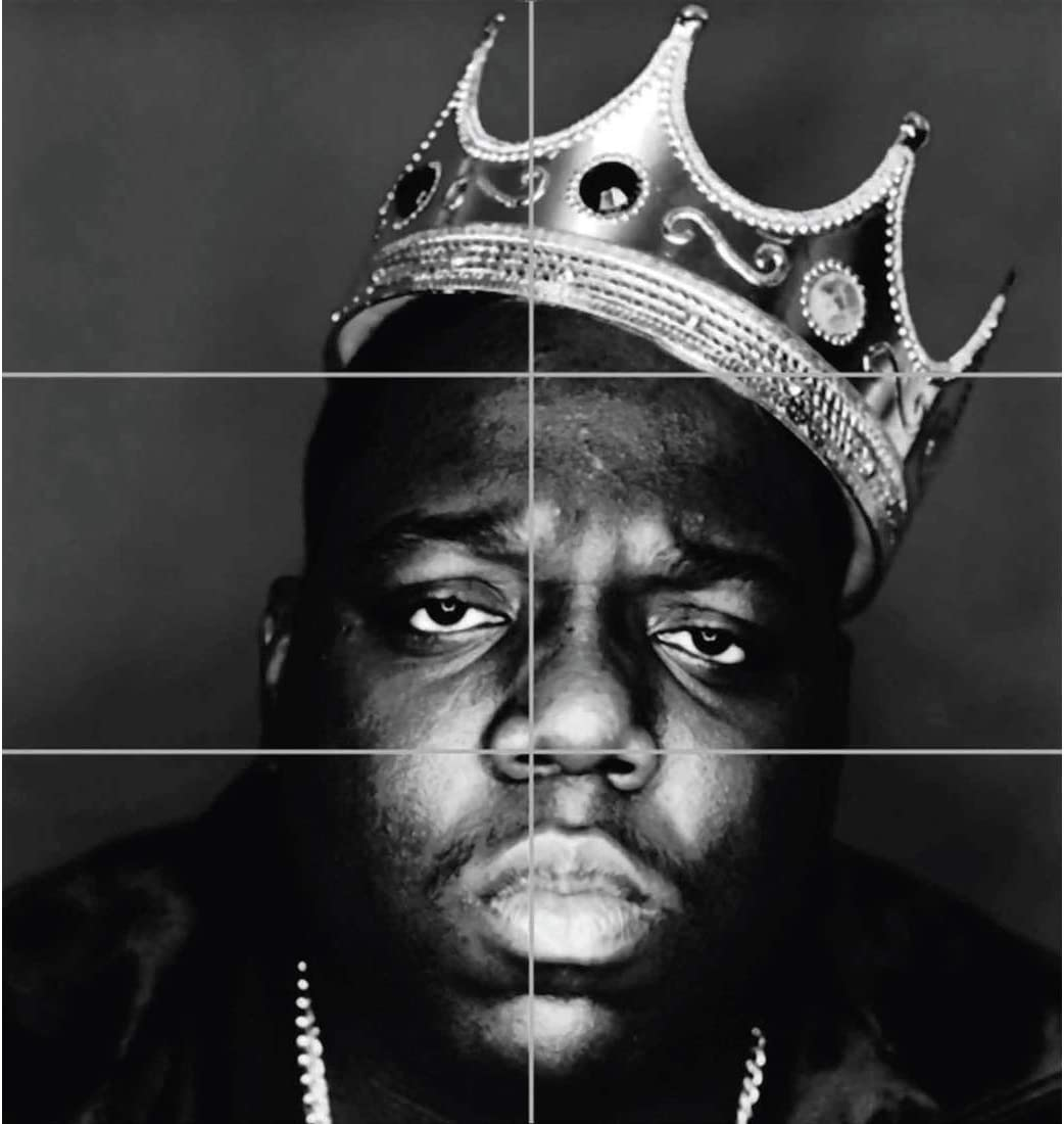 Doppelganger33 Ltd Notorious B I G Biggie Hip Hop Rapper Legend Black White King Crown Wall Art Multi Panel Poster Print 32x35 Inches Posters Prints