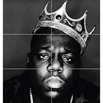 NOTORIOUS B I G BIGGIE GIANT HIP HOP RAPPER LEGEND BLACK WHITE KING CROWN ART PRINT POSTER PLAKAT DRUCK EN845