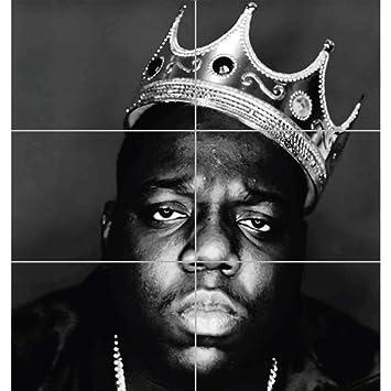 NOTORIOUS B I G BIGGIE GIANT HIP HOP RAPPER LEGEND BLACK WHITE KING CROWN ART PRINT POSTER PLAKAT DRUCK EN845