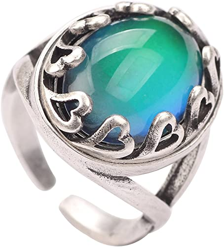 Women Real Silver Plated Cute Color Change Mood Drop Stone Finger Ring Jewelry