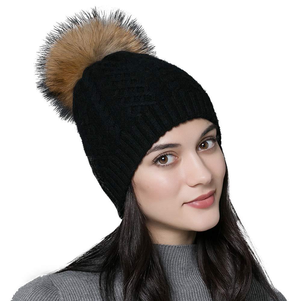 SOMALER Winter Knitted Beanie hat for Women Real Fur Raccoon pom pom Hat