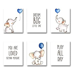 iMagitek Set of 6 Unframed Baby Boy Nursery Wall Art Prints, Blue Elephant Nursery Wall Decor, Elephants with Blue Balloons Wall Art Decorations for Baby Boy Nursery, Boy's Room (8