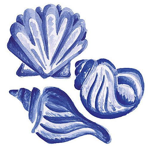 Wallies 12119 Blue Shells Wallpaper Cutout ()