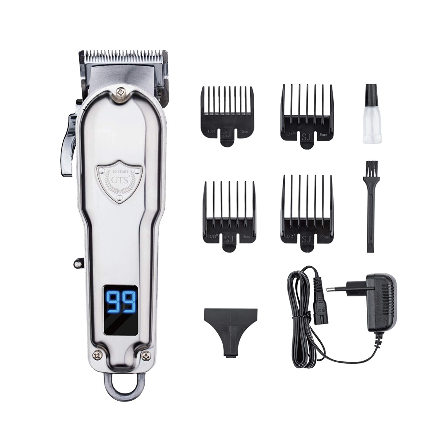 Hair Clippers for Men, Cordless Hair Trimmer Rechargeable Barber Clippers, Professional Hair Cutting Kit for Home Barber Salon(Silver)