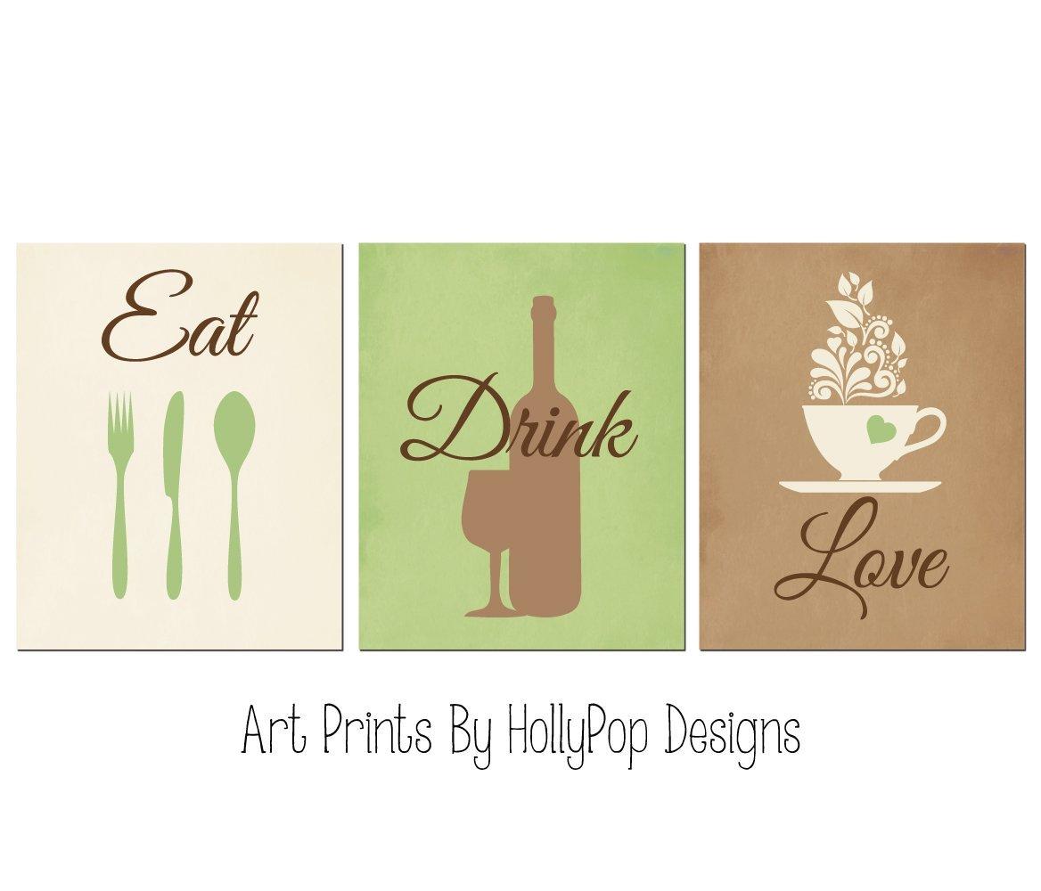 Amazon Com Modern Kitchen Decor Eat Drink Love Prints