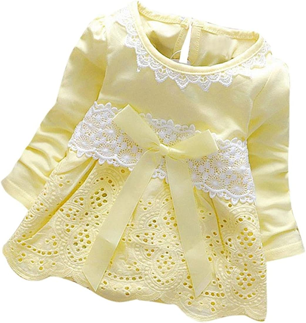 Long Sleeve Party Flower Bow Princess Dress Kids Clothes Balakie Girls Round Neck Lace Dress