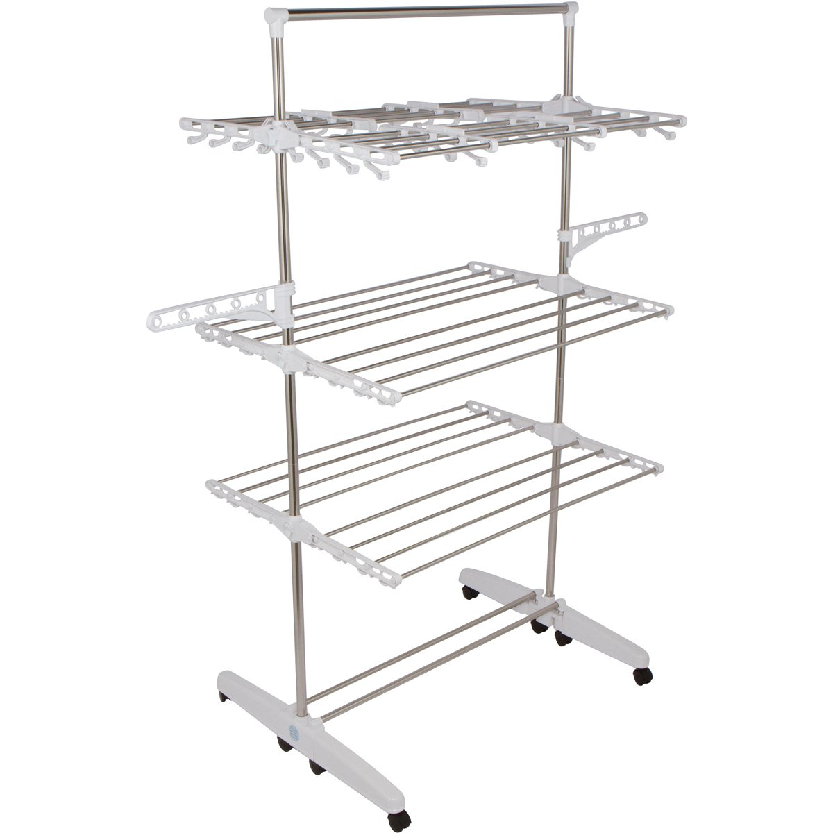 !iT Jeans High Capacity 3-Tier Premium Foldable Clothes Drying Rack - Stainless Steel - 8 Wheels- Heavy Duty Large Size - Indoor & Outdoor (Blue) GR2B