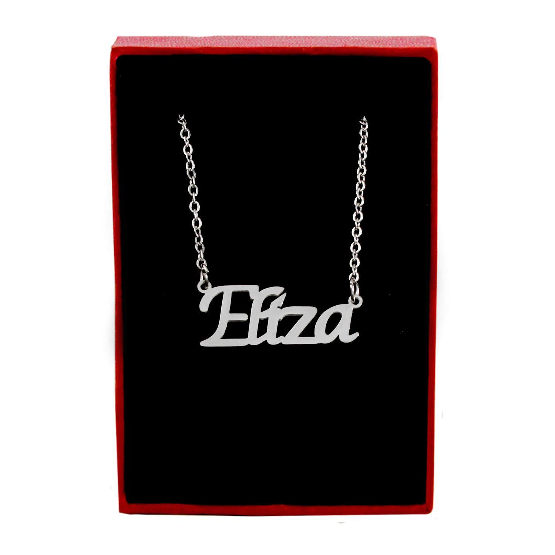 Kigu Eliza Custom Name Necklace Personalized Silver Tone