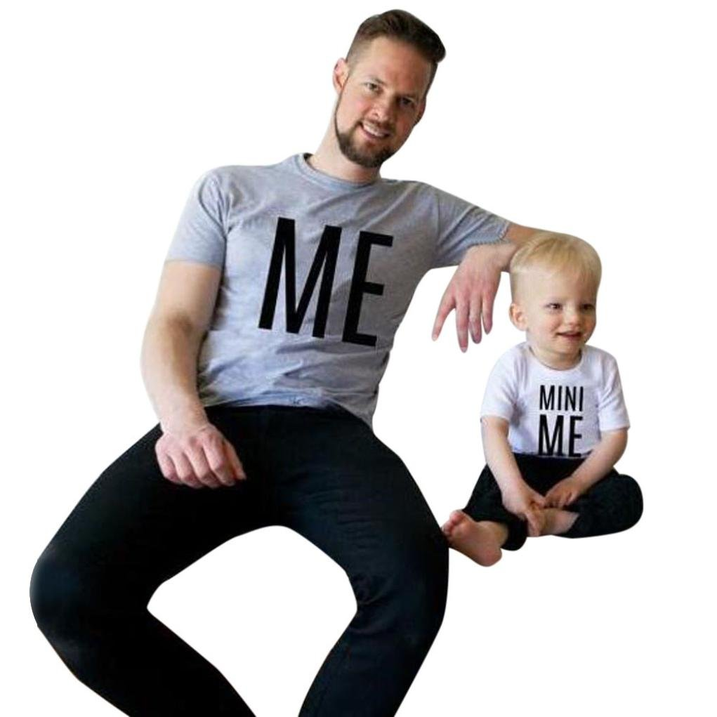 FANOUD Daddy and Me, Men And Toddler Infant Kids Baby Boys Girls Letter Short Sleeve Letter T shirt Blouse Tops Family Clothes Outfits