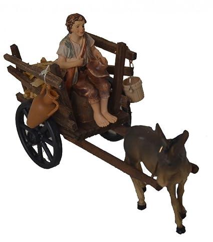 Burro de madera carretilla de mano y pastor para Belén pesebre para Belén