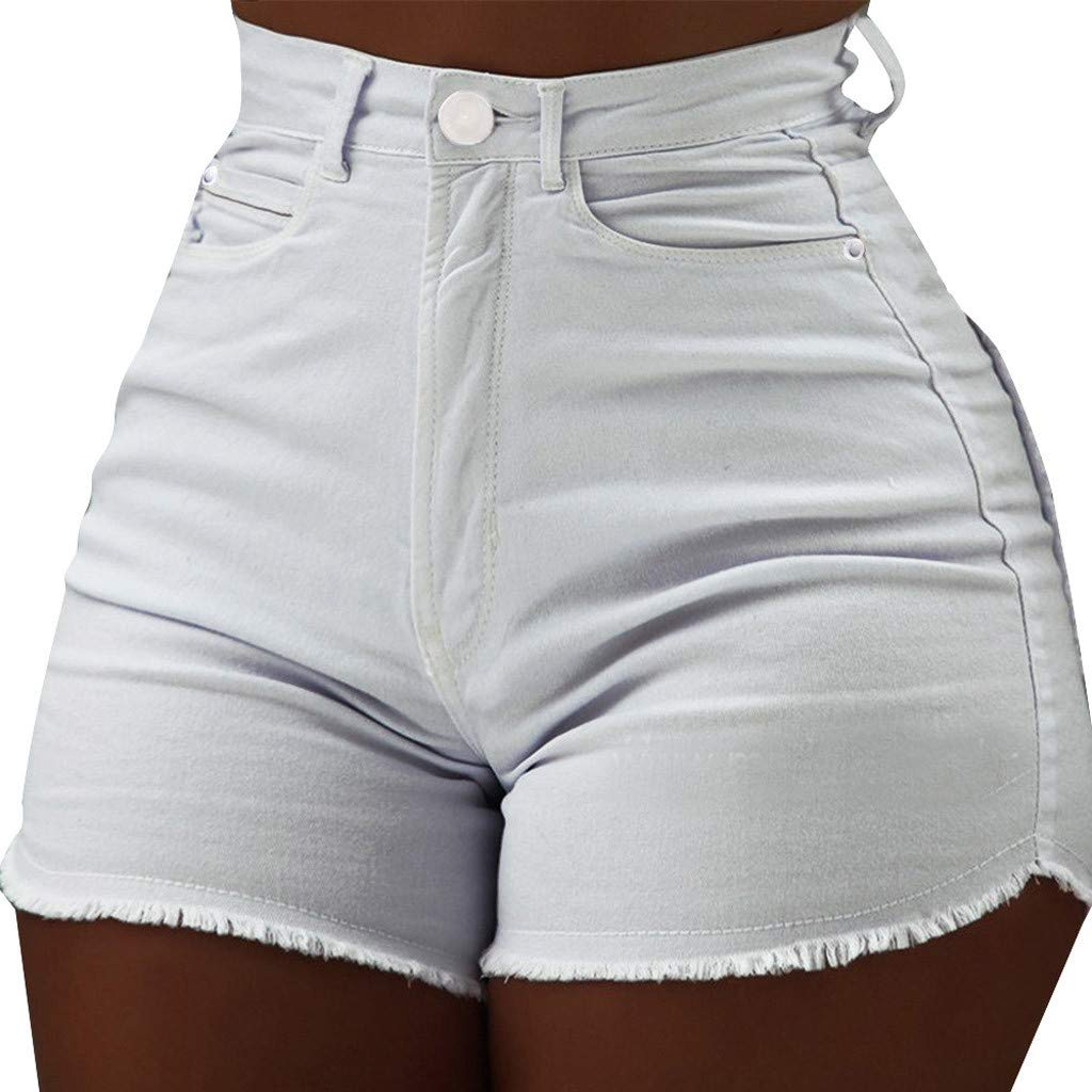 Ladies Shorts LuluZanm Women's Casual Solid Color High Waist Slim Pockets Hot Pants Raw Jeans Summer Daily Fit Shorts White