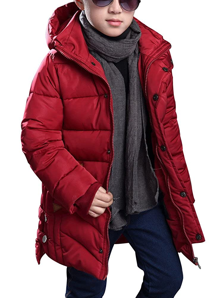 OCHENTA Boys' Winter Cotton Quilted Outerwear, Hooded Parka Coat