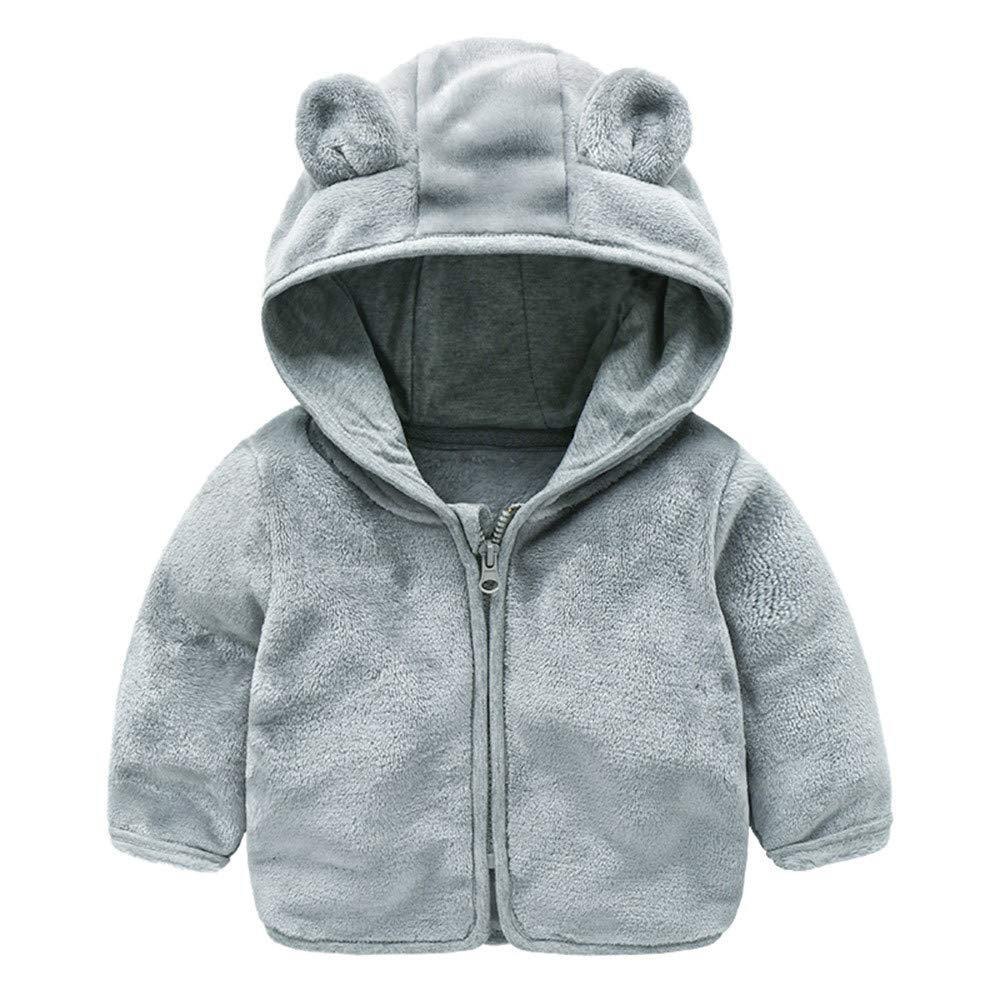Jchen(TM) Clearance! Baby Infant Girls Boys Autumn Winter Cute Ear Hooded Coat Jacket Thick Warm Outwear Coat for 0-24 Months (Age: 12-18 Months, Gray)