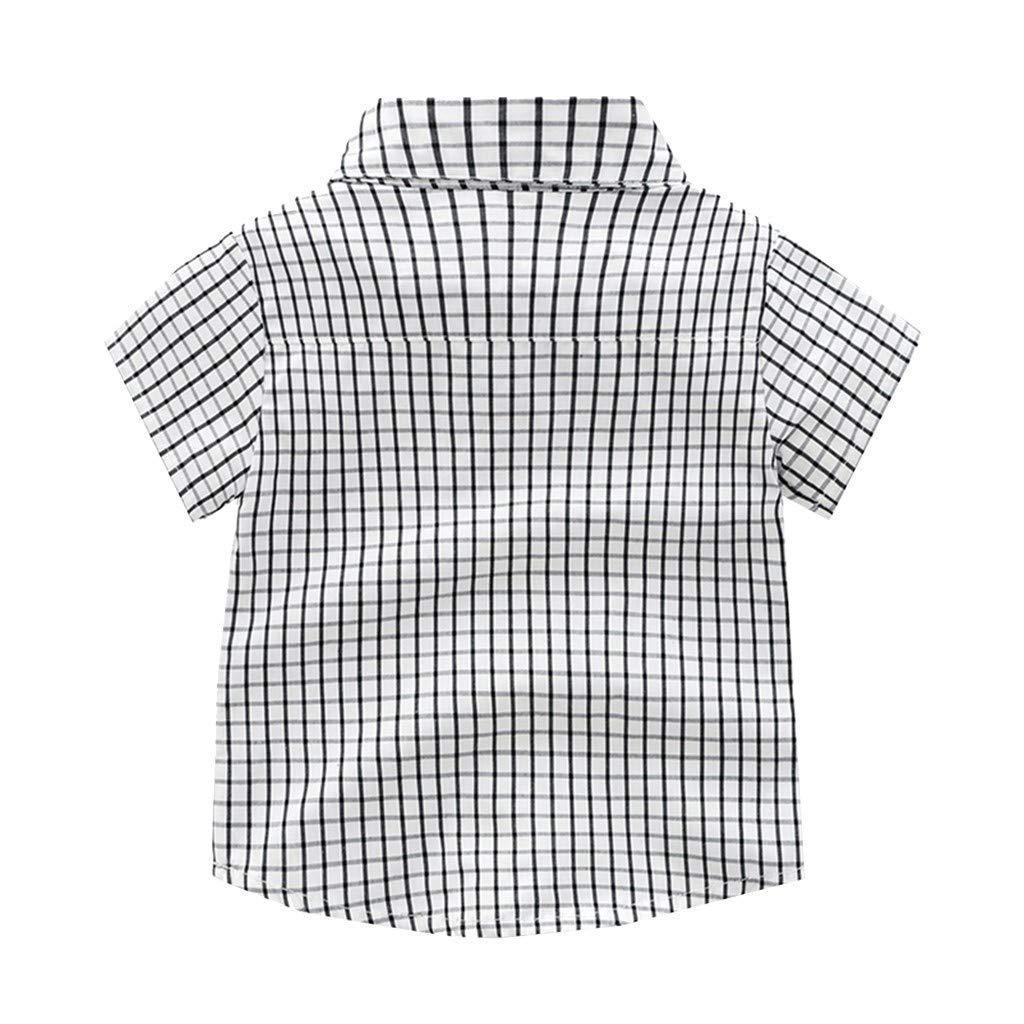 wuayi  Baby Jungs Gentleman Fliege Plaid Kurzarm Hemd T-Shirt Tops 3 Jahre Shorts Kurze Hose Overalls Outfits Kleidung 3 Monate