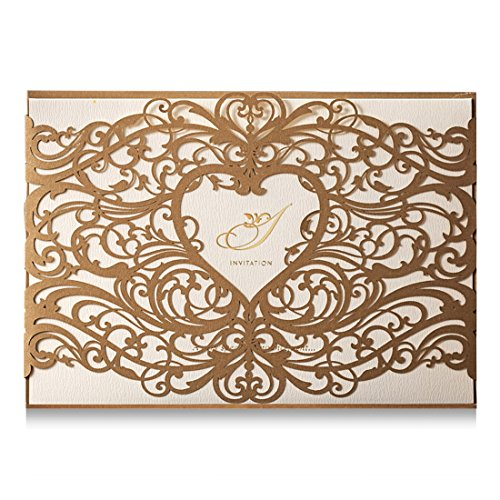 Wishmade Gold Heart Laser Cut Wedding Invitations Cards Kits 50 Pieces Elegant Floral Paper Invites for Marriage Cardstock Engagement Birthday Bridal Shower(Set of 50pcs)]()