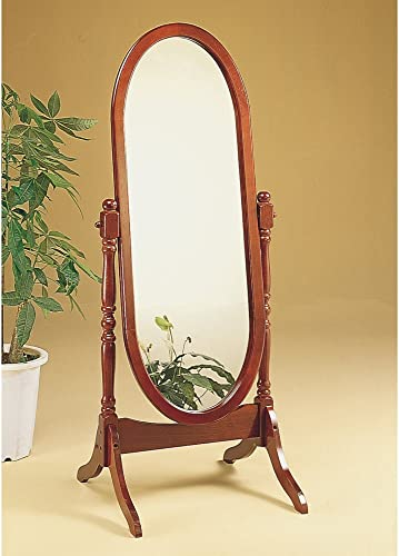 Monarch Specialties Oval Cheval Mirror in Walnut Finish