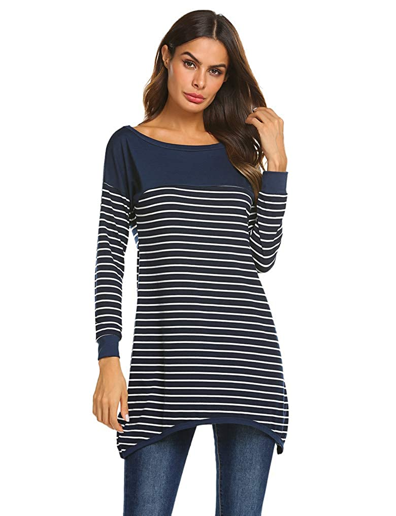 Qearal Womens Long Sleeve Striped Tunic Shirt Loose Fit Pullover Blouses  Tops at Amazon Women s Clothing store  35aed2aa9