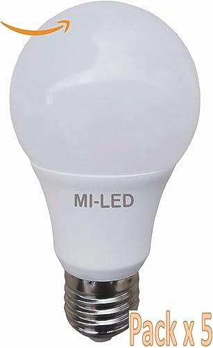 Pack 5 Bombillas Estándar Led, Potencia 7 W, Casquillo E27, Color Luz fría 6500 K, Tecnología SMD, 240° Ángulo de Apertura, 80% Ahorro, Encendido Instantáneo: Amazon.es: Iluminación