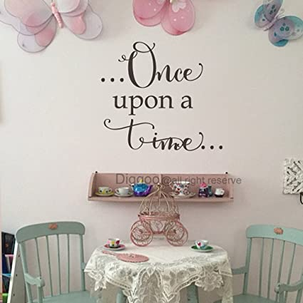 Amazon Com Diggoo Once Upon A Time Vinyl Wall Saying Fairy Tale