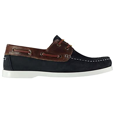 349997eb47 Firetrap Mens Boat Shoes Lace Up Leather Stitched Detailing Contrast  Panelling Navy Brown UK 10