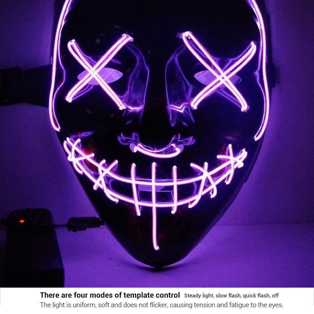 EqWong M/áscara LED de Halloween Cara Fantasma Completa M/áscara EL Wire con 4 Modos de Flash EL Wire Calavera M/áscara de Baile Fluorescente para Festival Cosplay Disfraz de Halloween