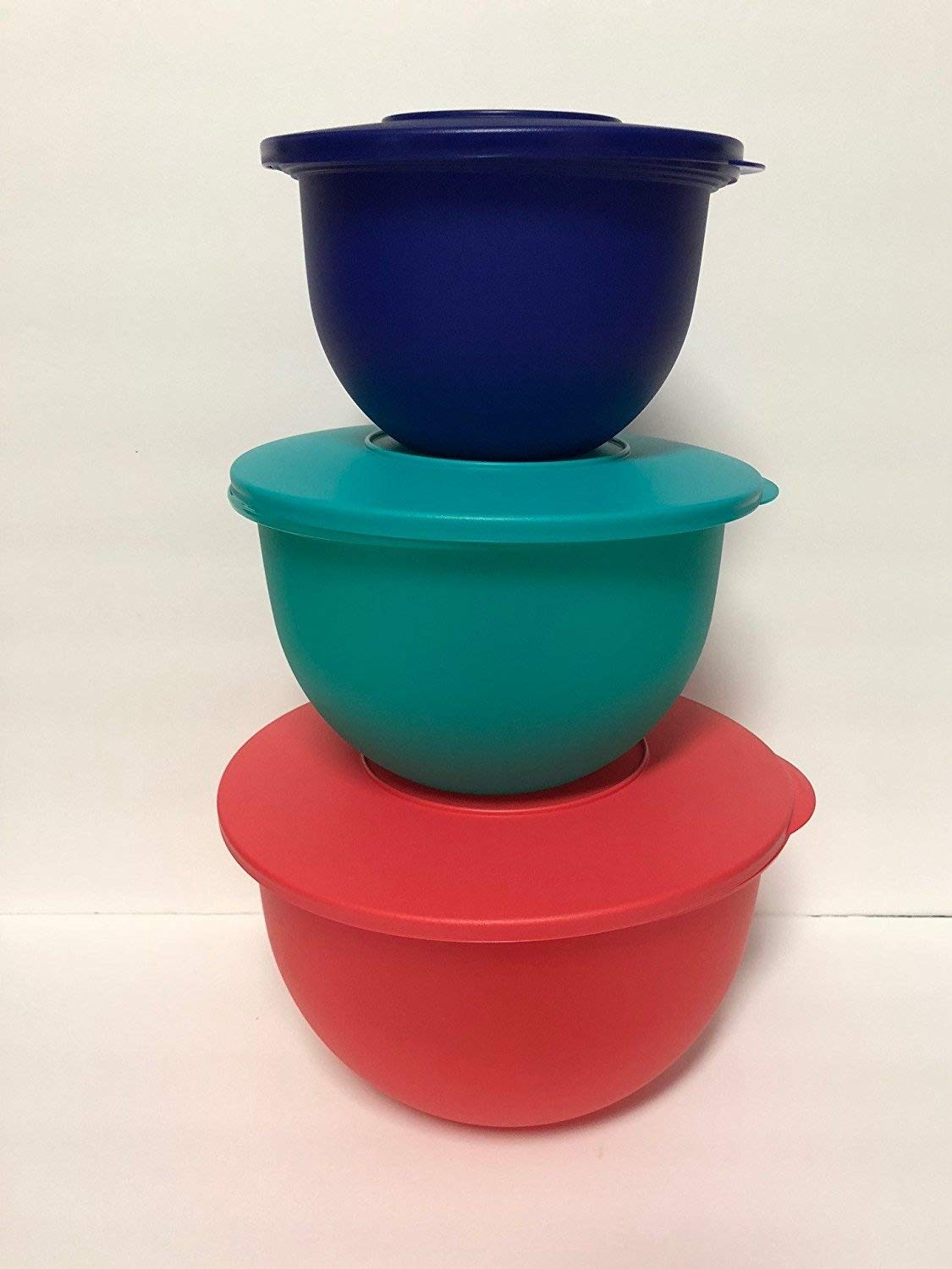 Tupperware Impression Classic Bowl Set of 3 Multi Colors 2018 Blue, Green, Red