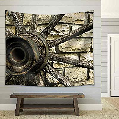 Cartwheel on a Stone Well Fabric Wall, Classic Artwork, Gorgeous Composition