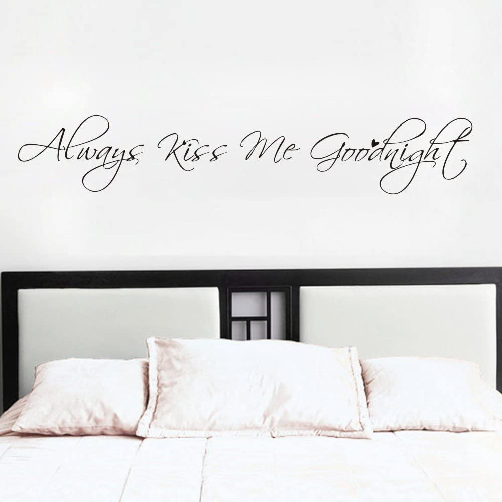 MoharWall Always Kiss Me Goodnight Bedroom Decal Wall Quotes Love Saying Sticker Vinyl Art Women Decor Living Room