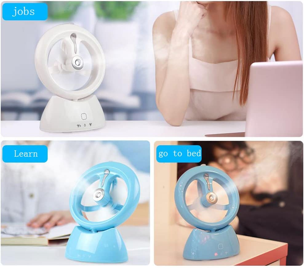 Color : Green Three-Speed Adjustment USB Charging humidification Mode Spray Water Spray Portable Rechargeable Fan Electric Fan Xiao Jian Soft Fan Blade