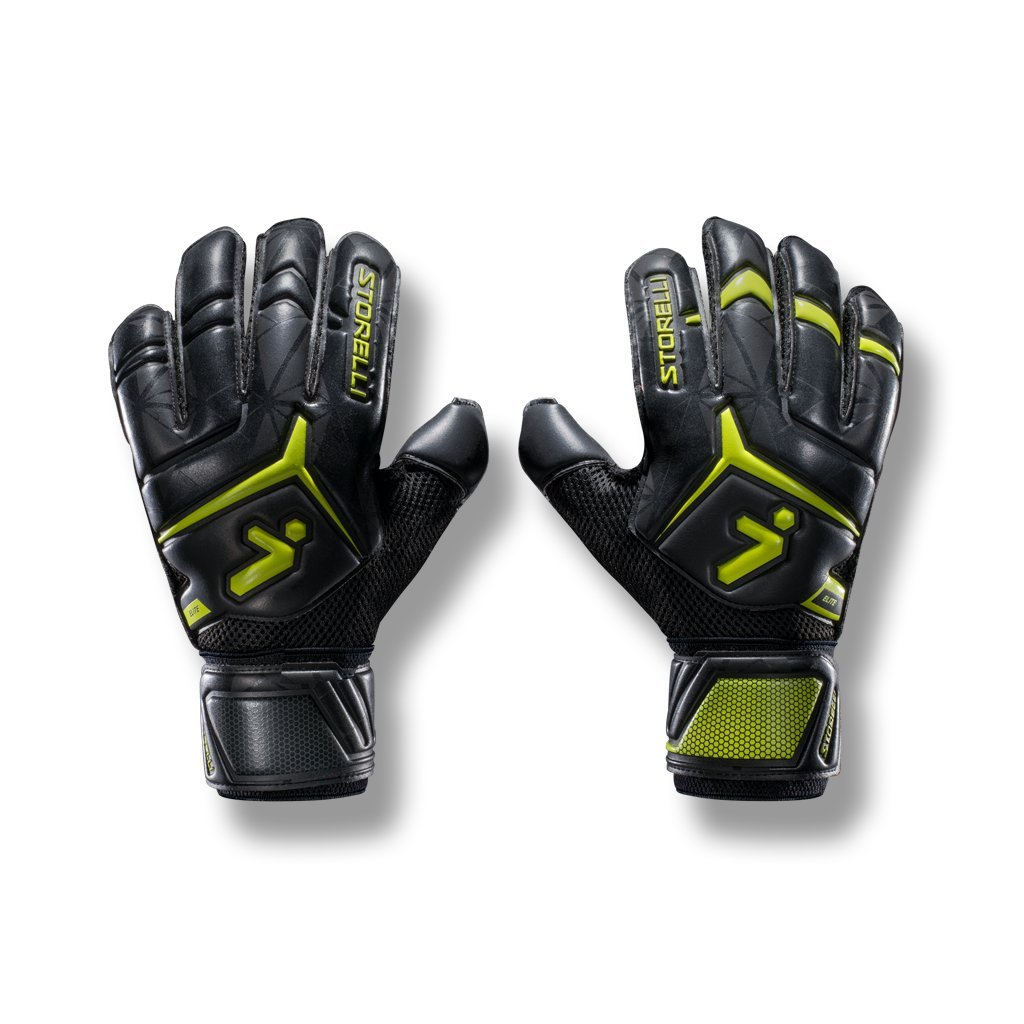 Storelli Gladiator Elite 2.0 Goalkeeper Gloves | High-Performance Soccer Goalie Gloves with Finger Spines | Premium Finger and Hand Protection | Black & Yellow | Size 7 by Storelli