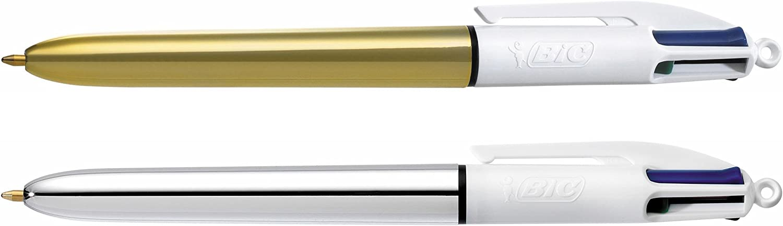 BIC Cristal Shine y BIC 4 colores Shine bolígrafos Navidad bolígrafos de punta media (1,0 mm) + 4 colores Shine Bolígrafo Retráctil punta media (1,0 mm) – colores Metálicos Surtidos, Blíster de 2+1: Amazon.es: Oficina y papelería