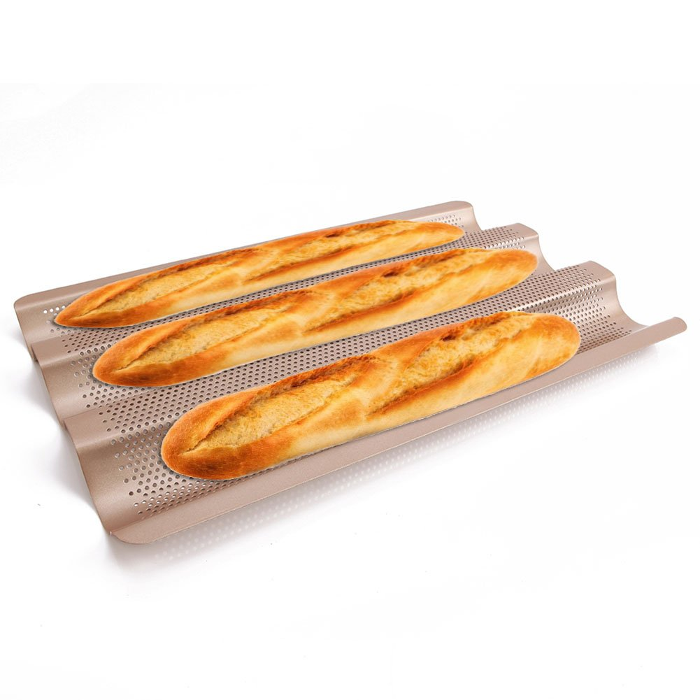 Baguette Pan 3 Gutter French Bread Tray for Baking Tins 15 inch Perforated Wave Small Wide Steel by LUFEIYA by LUFEIYA