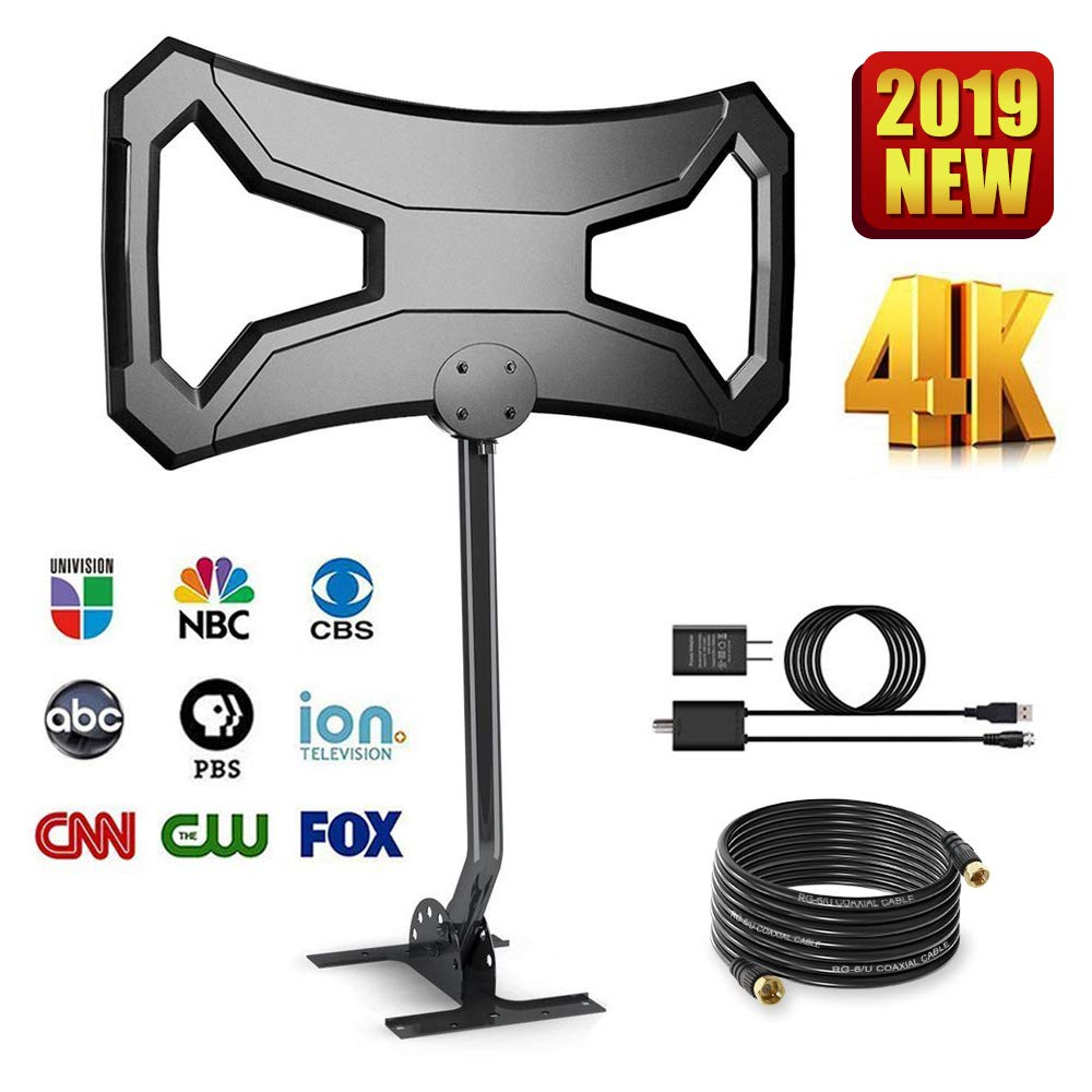 TV Antenna Outdoor 150-180 Miles Range- AntennaWorld HDTV Antenna Omni-Directional with Pole Mount for Free Channels Digital Antenna 33ft RG-6 Copper Cable