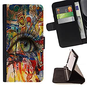 Dragon Case- Caja de la carpeta del caso en folio de cuero del tirš®n de la cubierta protectora Shell FOR Samsung GALAXY ALPHA G850 SM-G850F G850Y G850M- Beautiful Eye Eyes Girl