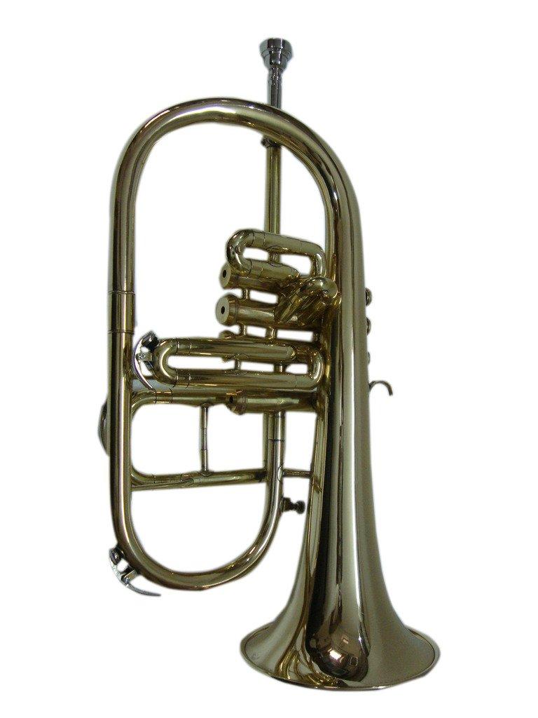 OSWAL Bb/F Silver Nickel 4 Valve Flugel Horn+W/Case+Mouthipiece 1015