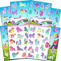 Crenstone Unicorn Stickers Party Supplies Pack -- Over 120 Unicorns Stickers and Licensed Stickers (8 Party Favors Sheets)