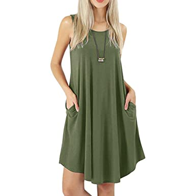 ESAILQ Women Loose v Neck Tunic Casual Mini Dress Pockets Boho Solid t-Shirt Dresses