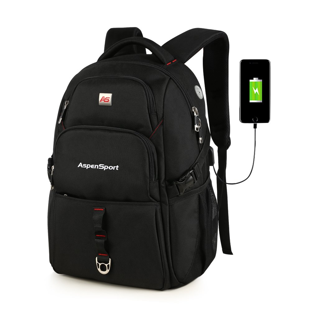 ASPENSPORT Laptop Bags for Men&Women Travel Backpacks Fit 15.6 Inch Large Computer Notebook College Rucksacks Anti Theft with USB Charging Port Black