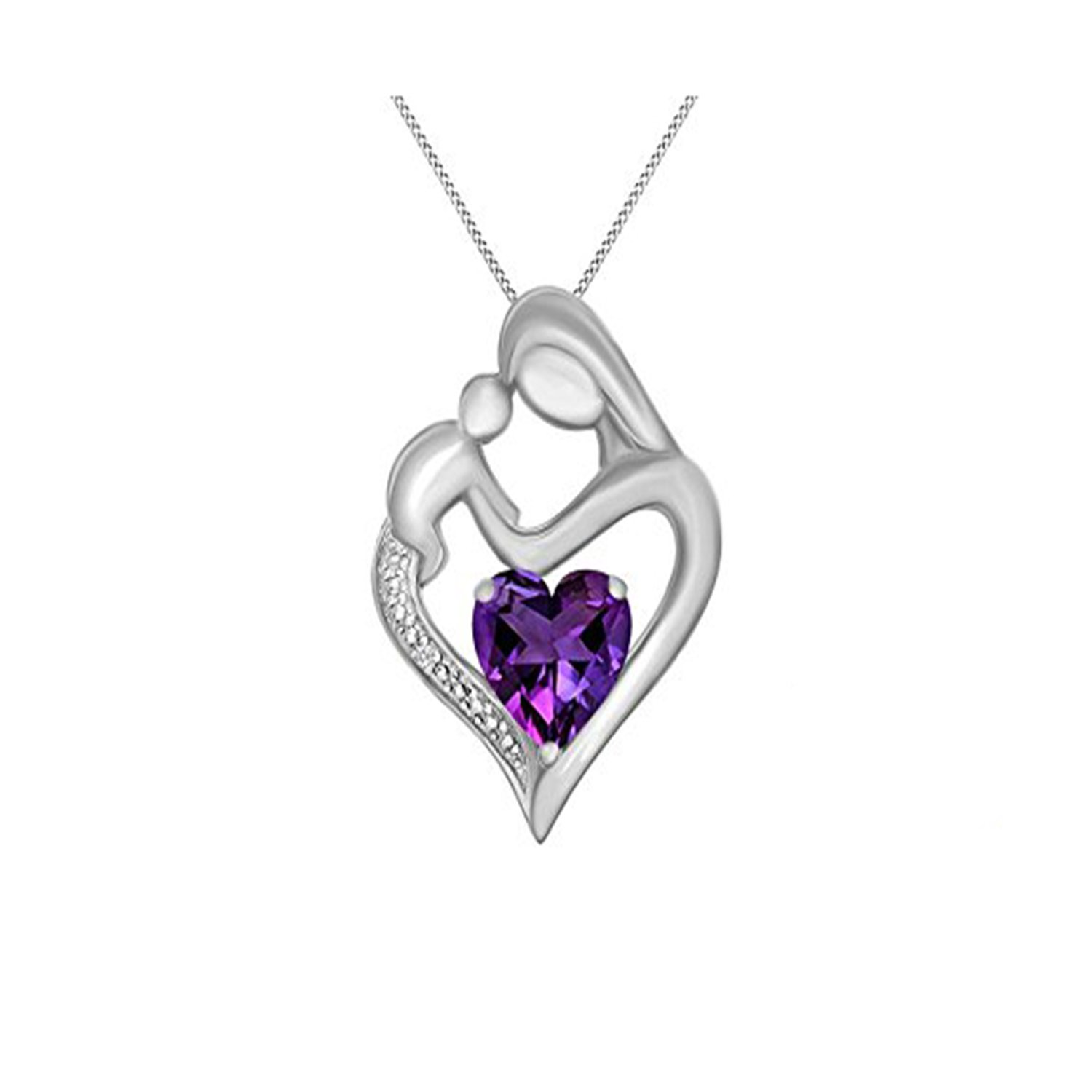 Simulated Diamond Studded Elegant Fashion Charm Heart MOM Pendant Necklace in 14K White Gold Plated With Box Chain