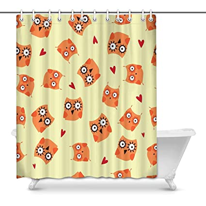 Image Unavailable Not Available For Color INTERESTPRINT Owl Fabric Shower Curtain