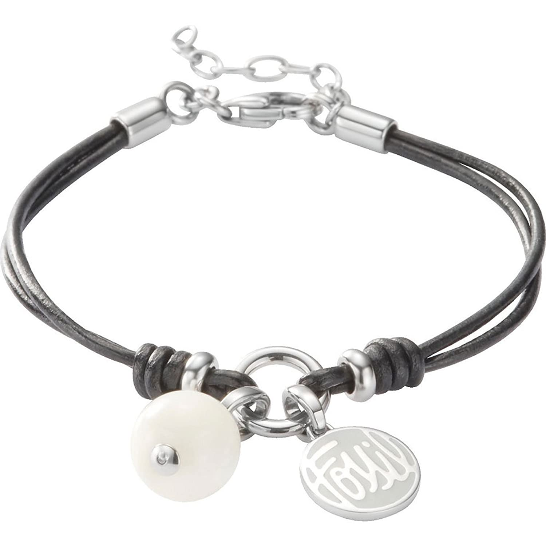 Fossil lederarmband damen schwarz  Fossil Damen-Charms Armband Bead Logo Leder Schwarz 16-19,5 Cm ...