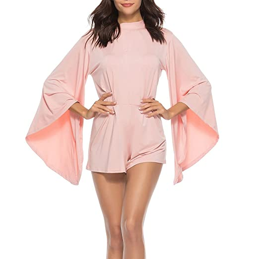 5b5c0f29f518 ABASSKY Women Sexy Bodycon Long Batwing Sleeve Backless Cocktail Party  Playsuit Jumpsuit Pink