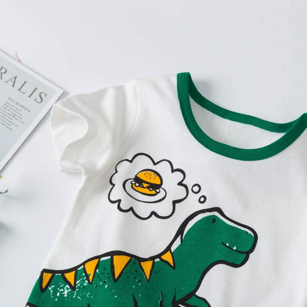 Janly Kids Clothes Set for 0-3 Years Old Baby Kid Clothes Set Girl Boy Toddler Dinosaur Short Sleeve T-Shirt Tops Shorts Outfits Set by Janly