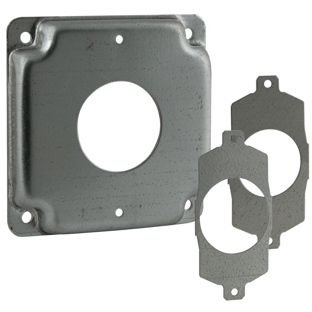 Hubbell-Raco 811U 4 in. Square Cover, Universal Exposed Work, 1-Round Device, 3-in-1 Plates, Steel