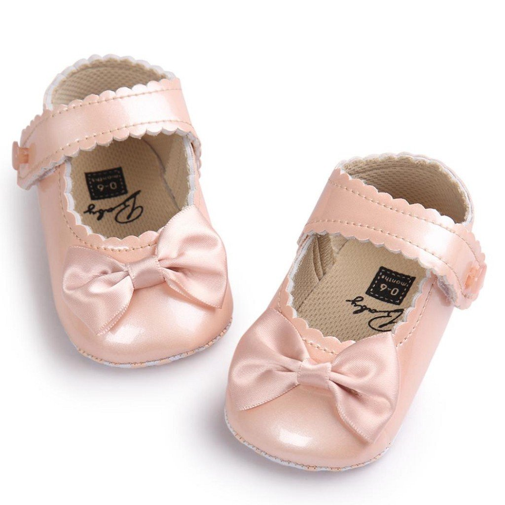 Creazrise Crib Shoes,0~18 Month Baby Fashion Girl Anti-Slip Soft Sole Toddler Shoes Solid Color Bowknot Leater Shoes Sneaker