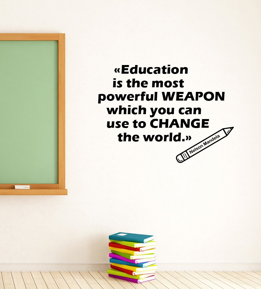 Education Is The Most Powerful Weapon Decal Vinyl Lettering Nelson Mandela Quote Sticker Study Art School Decorations College Dorm Library Classroom Motivational Wall Decor ed7