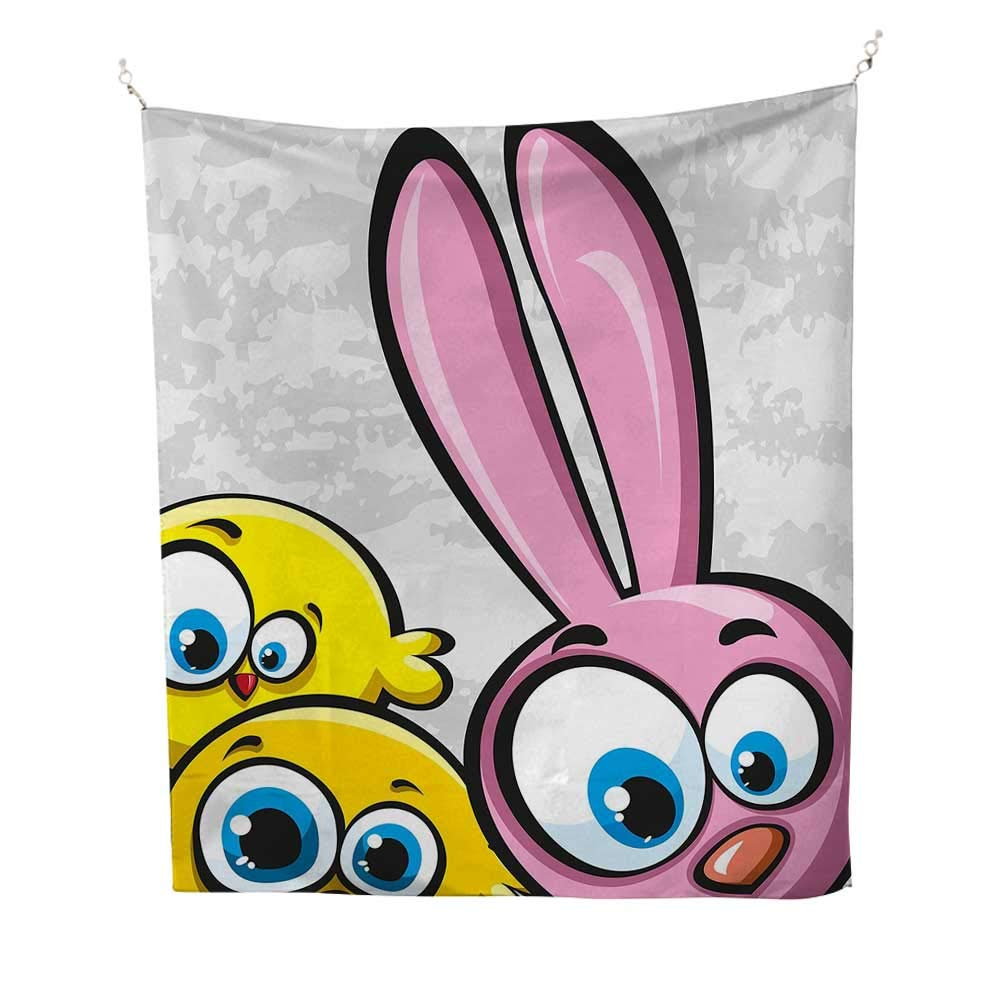 Funnyoutdoor tapestryBunny with Chickens Humor Childish Celebration Rabbit Animal Characters Image 70W x 84L inch Ceiling tapestryYellow Pink Dust