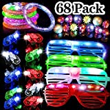 68 Pack LED Light Up Toys Halloween LED Glow Party Favors for Kids Glow in the Dark Party Supplies 4 Flashing Slotted Shades Glasses 10 Glow Rings 50 LED Finger Lights 5 LED Bracelets Christmas Gift