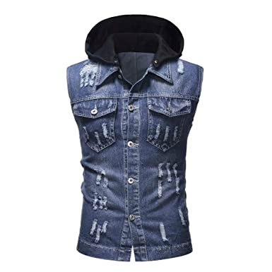Longra Herren Weste Jeansweste Steppweste ärmellos gefüttert Slimfit Jeans  Jacke mit Abnehmbarer Kapuze Destroyed Vintage Denim 5a09b5a70c