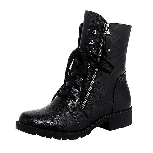 LvRao Mujer zapatillas de moda botas de cuero con cremallera botines planos de militares para invierno corto martin boots # Negro Forrado 39: Amazon.es: ...